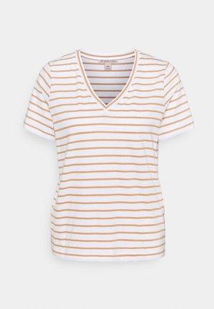 T-shirt print - white/camel