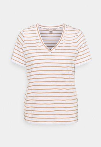 T-shirts print - white/camel