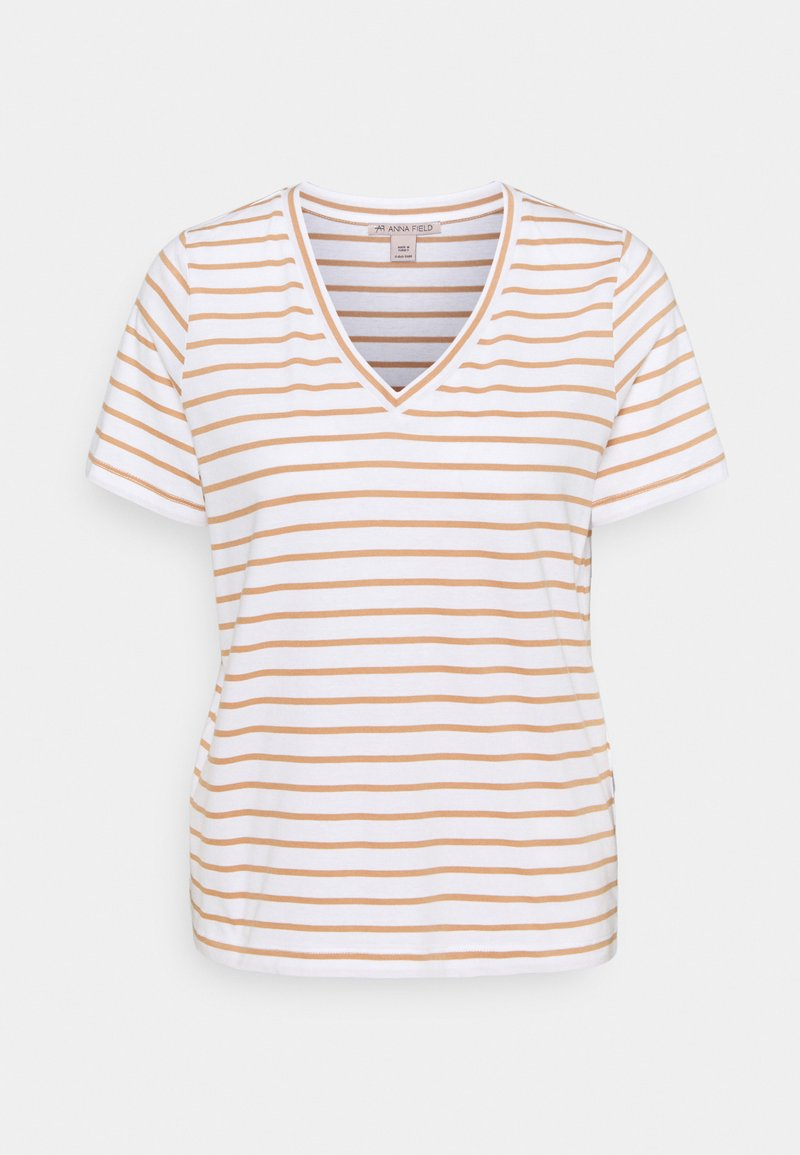 Anna Field - T-shirts med print - white/camel