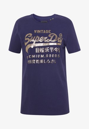 METALLIC ENTRY TEE - T-shirts med print - atlantic navy