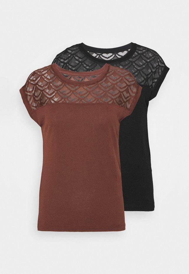 ONLNICOLE MIX 2 PACK - T-shirts med print - cappuccino/black