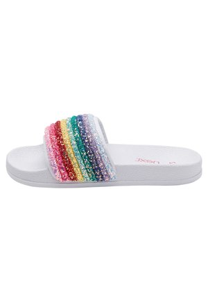 MULTI GLITTER RAINBOW SLIDERS (OLDER) - Badslippers - white