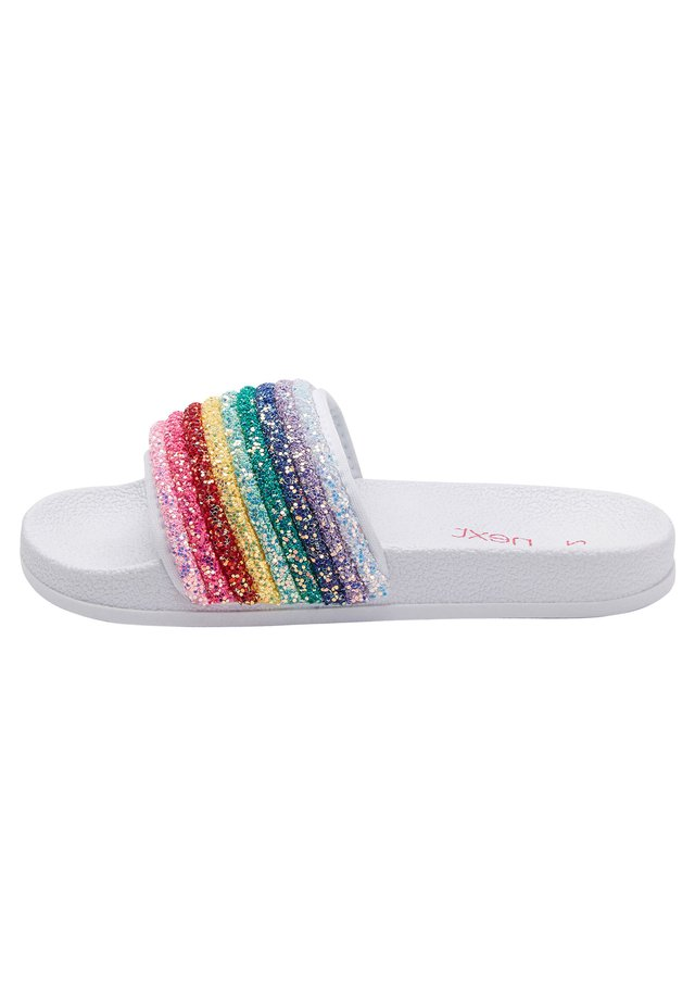 MULTI GLITTER RAINBOW SLIDERS (OLDER) - Pool slides - white