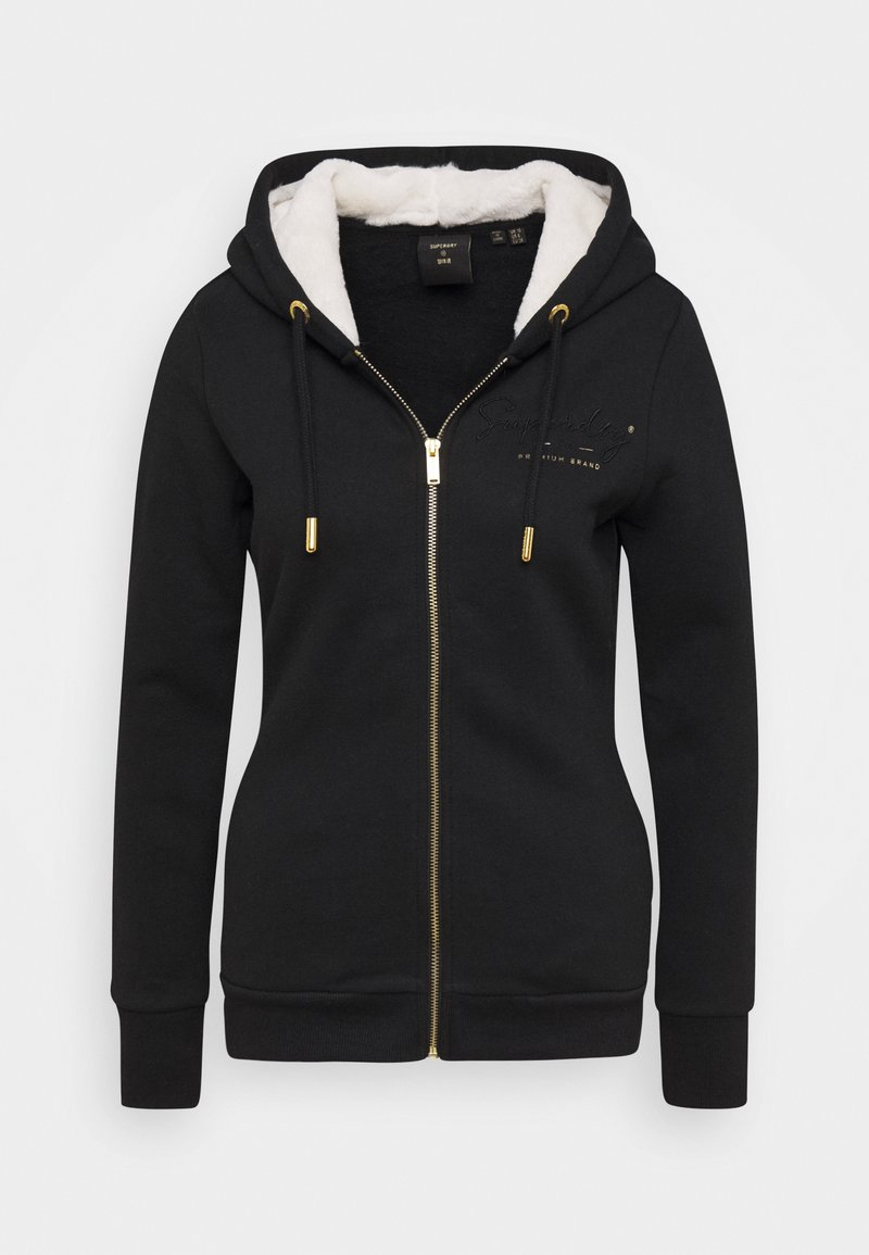Superdry ESTABLISHED ZIP HOOD - Sweatjacke - black/schwarz u9XW7e