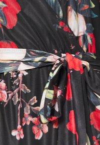 Vila - VIDAVIS VNECK TIE BELT DRESS - Denní šaty - black/flower - 4