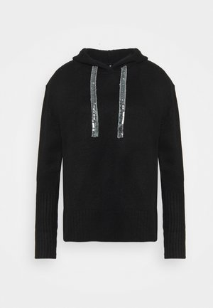 HOODY WITH SPARKLE TIE - Jumper - black