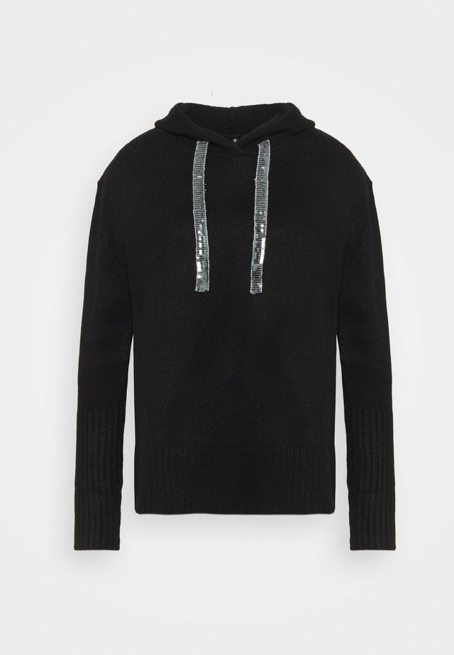 HOODY WITH SPARKLE TIE - Pullover - black