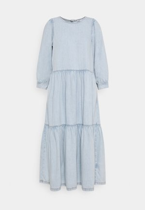 DRESS MIDI LENGTH ROUND NECK VOLUME SLEEVE - Denim dress - blue