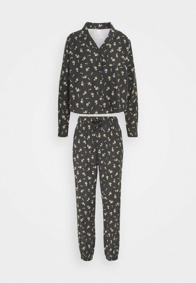 SLEEP PANT SET - Pyjama - spriggy washed black