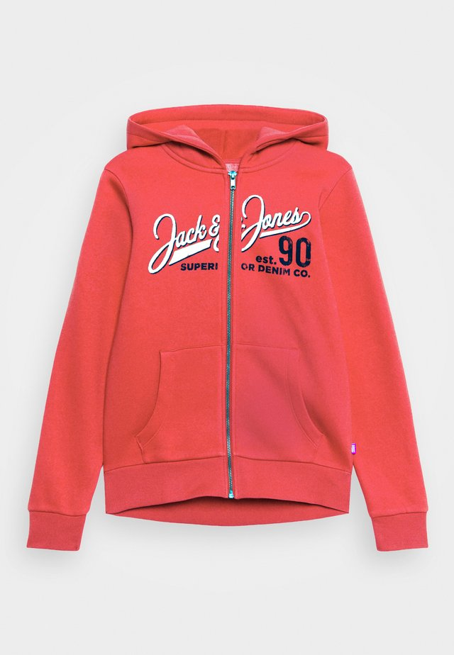 JJELOGO ZIP HOOD - Collegetakki - true red
