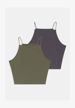SPAGHETTI 2 PACK - Top - dark grey/khaki