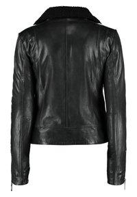 DNR Jackets - MIT REIßVERSCHLUSS UND KONTRASTFUTTER - Leather jacket - black - 1