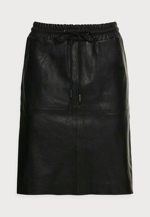 SIRISA LEATHER SKIRT - Mini skirt - black deep