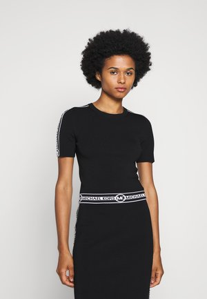 LOGO CROP CREW - T-shirt z nadrukiem - black