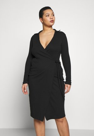 PLUS SIZE RIBBED TIE SIDE MIDI COLLAR DRESS - Jerseykjole - black