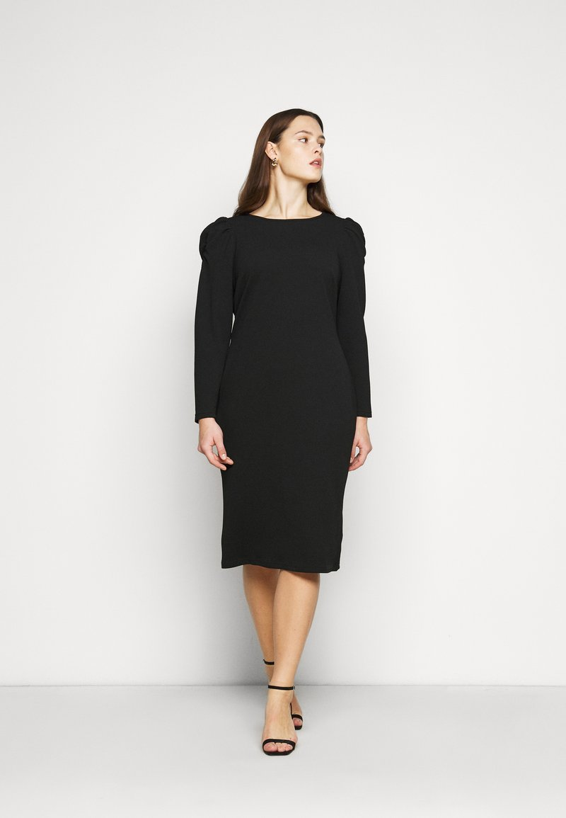 Dorothy Perkins Curve - CURVE RUCHED SLEEVE BODYCON - Robe en jersey - black
