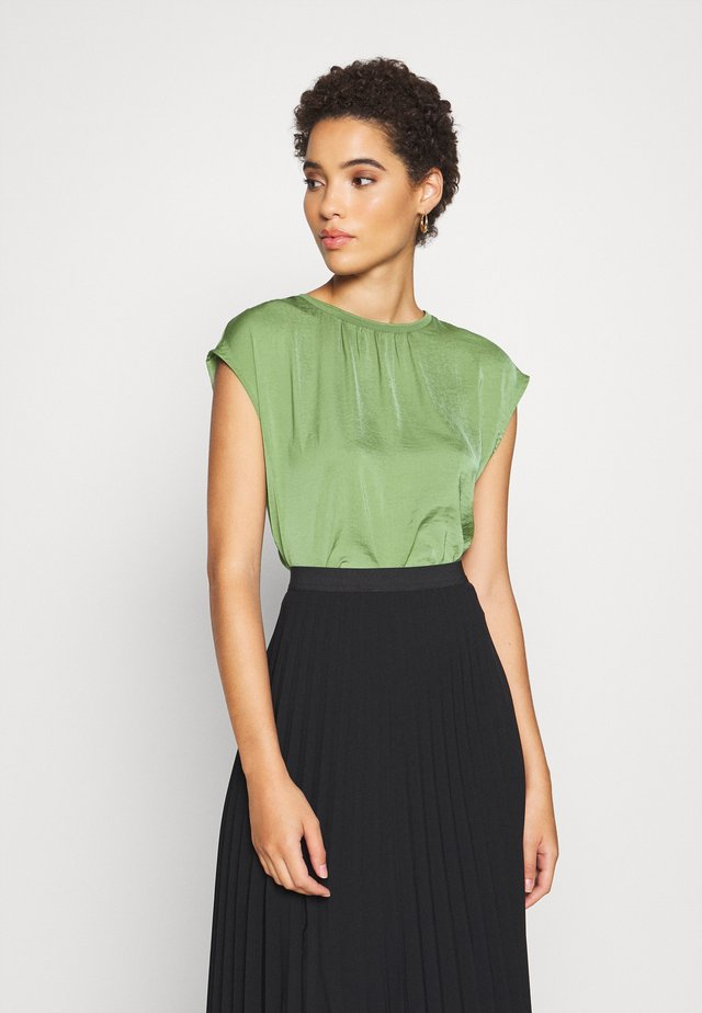 BLOUSE WITH NECK - Bluzka - olive green