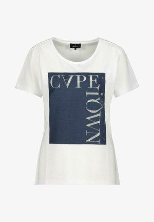 MIT RUNDHALS - Print T-shirt - white