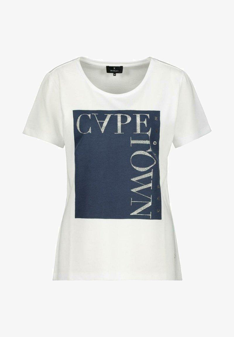 Monari - MIT RUNDHALS - Print T-shirt - white