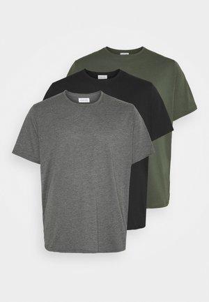 3 Pack - T-shirts basic - khak/ grey /black