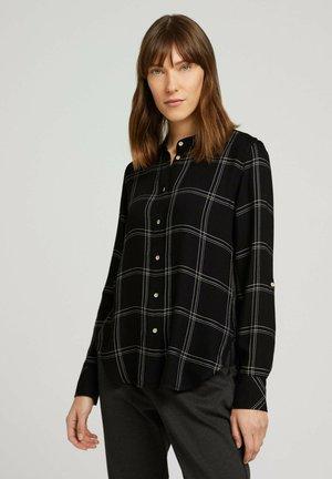 Button-down blouse - black green check