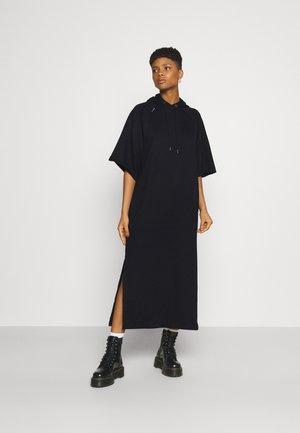 LONG HOODED DRESS - Maxi dress - dark black