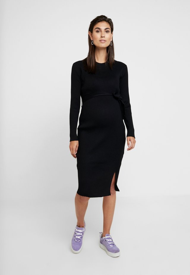 TIE WAIST DRESS - Strikket kjole - black