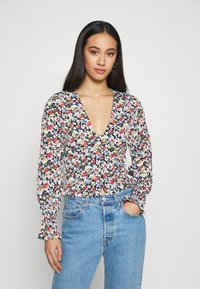 Missguided - SHIRRED CUFF FRILL BLOUSE - Long sleeved top - multi - 0