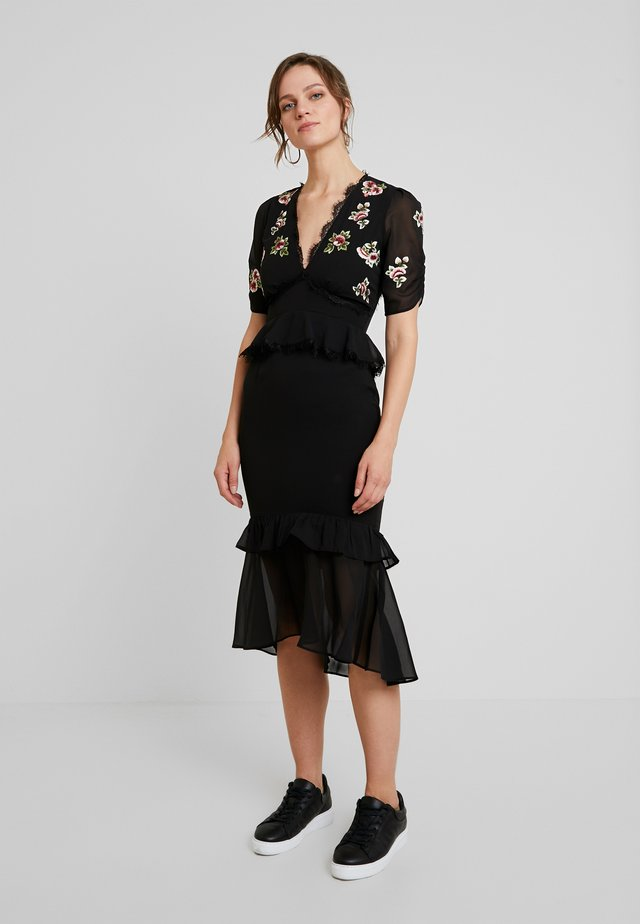 PEPLUM WAIST MIDI DRESS WITH EMBROIDERY - Robe de soirée - black