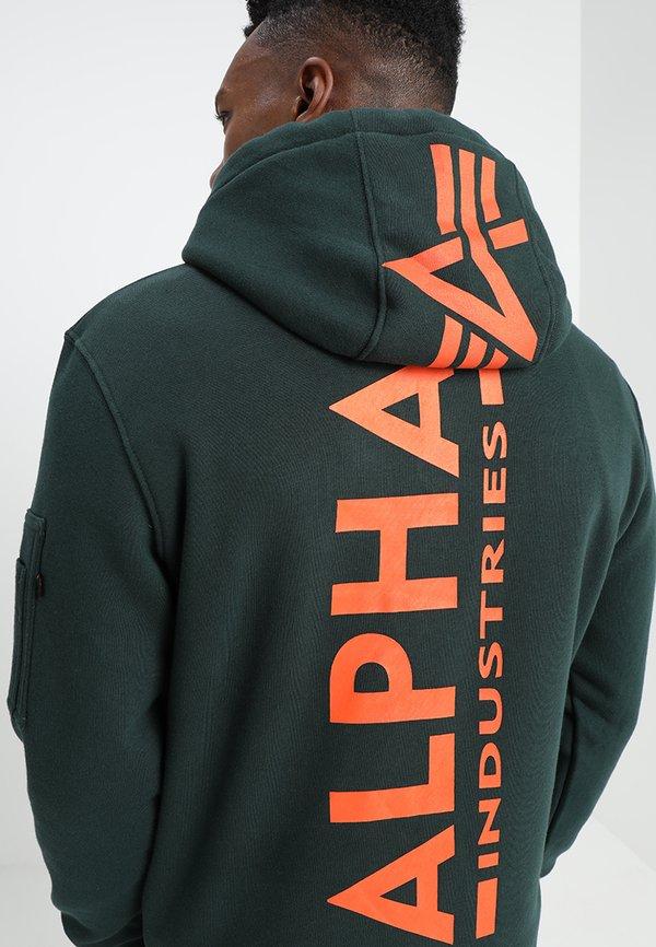 Alpha Industries BACK PRINT HOODY - Bluza z kapturem - petrol/turkusowy Odzież Męska NJWH