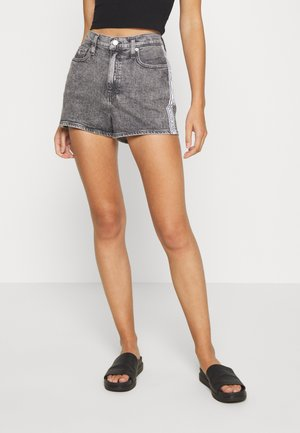 HIGH RISE - Denim shorts - grey tape