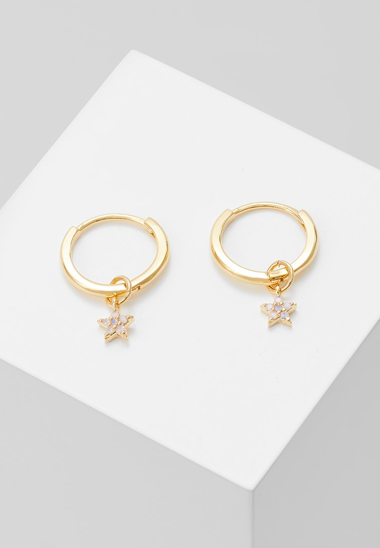 Astrid & Miyu - MYSTIC STAR PENDANT EARRINGS HOOPS - Earrings - gold-coloured