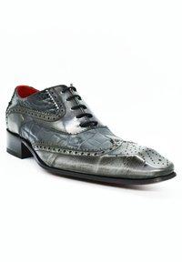 Fertini - Smart lace-ups - black croco gray brushed - 1
