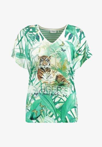 T-shirt con stampa - ecru/weiss/blau ringel
