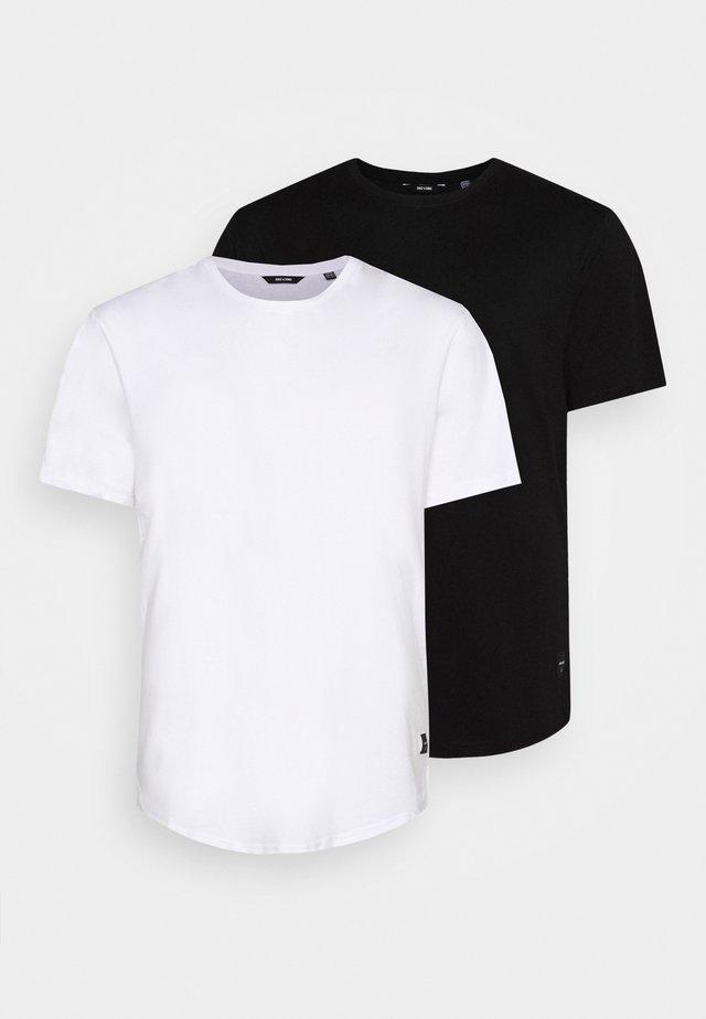 ONSMATT LONGY TEE 2 PACK  - Basic T-shirt - black/white