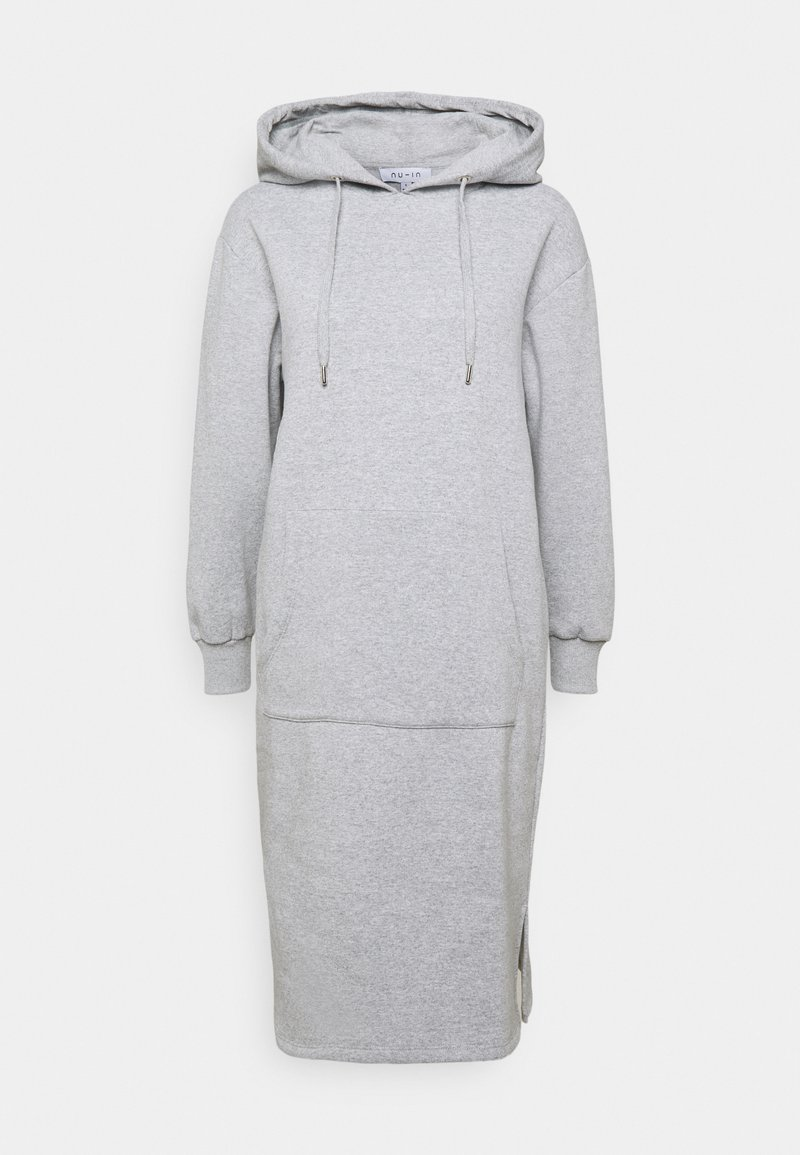 NU-IN - HOODIE MIDI DRESS - Day dress - grey marl