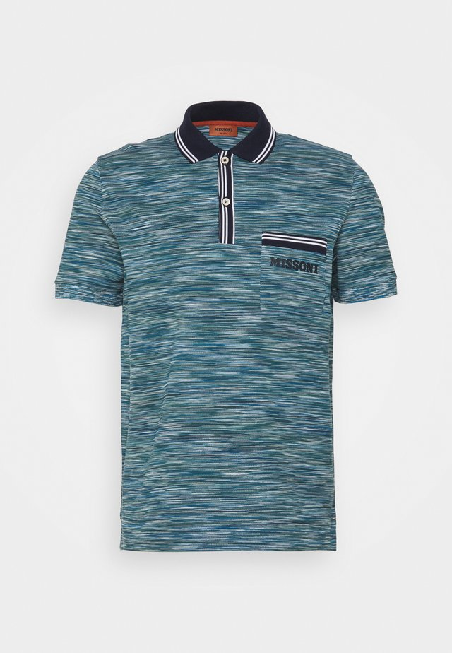 MANICA LUNGA - Polo - blue/dark green/white