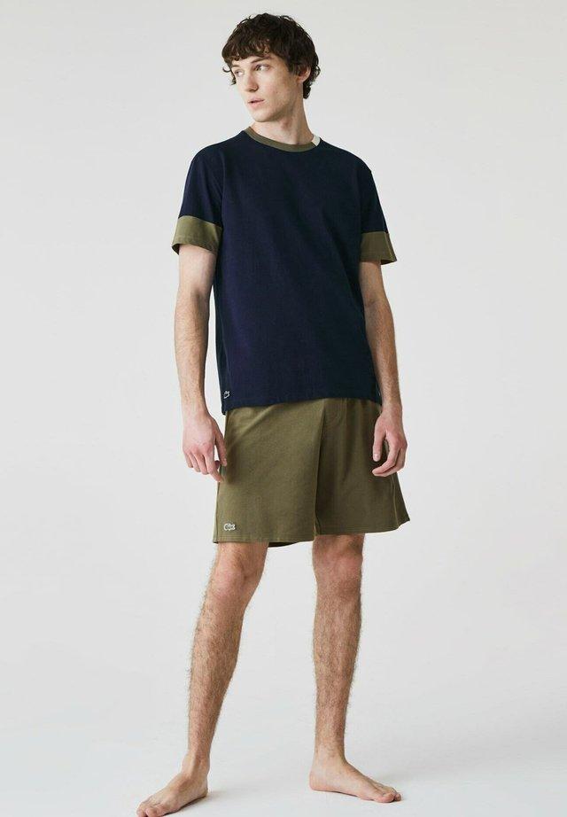 SET - Pyjama - bleu marine / vert kaki / blanc