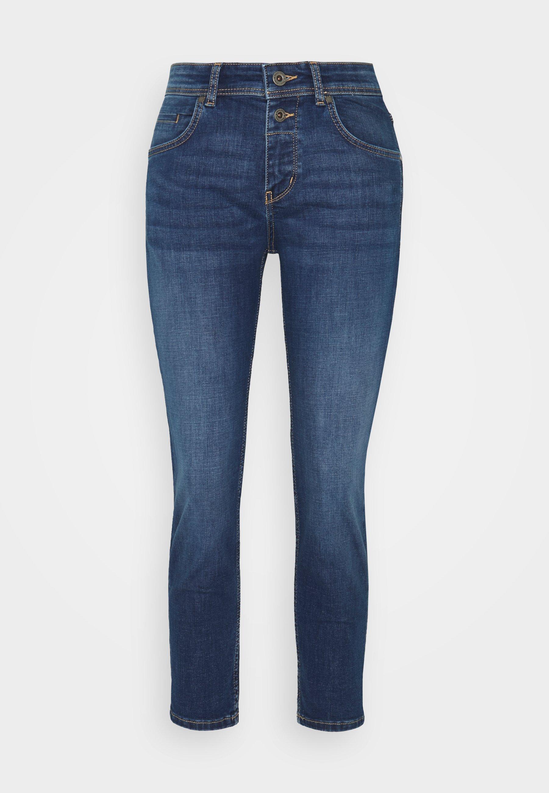 Women DENIM TROUSER MID WAIST BOYFRIEND FIT CROPPED LENGTH - Slim fit jeans