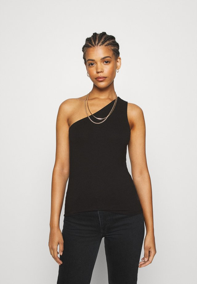 ONE SHOULDER SINGLET - Topper - black