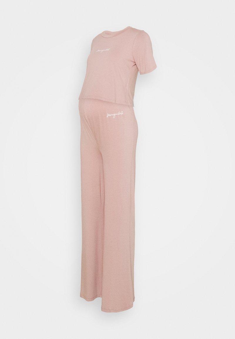 Missguided Maternity - MATERNITY SCRIPT NIGHTWEAR TROUSER SET - Pyjama set - rose