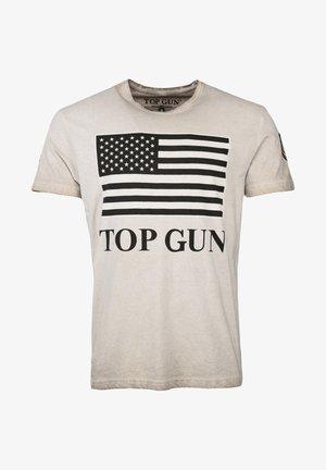 MIT US-FLAGGE SEARCH - Print T-shirt - dark beige
