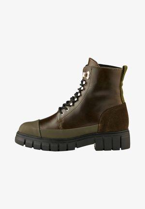Lace-up ankle boots - dunkelgrün