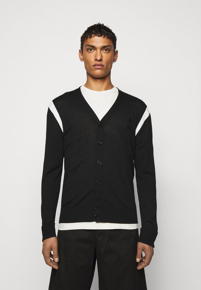 TRAVEL CARDIGAN WITH CONTRAST INTARSIA INSERT - Pullover - black/white