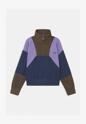 ELLA CROPPED HALF ZIP - Fleecetrøjer - black iris/grape leaf/sand verbena