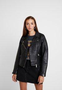 River Island - CATO JACKET - Leather jacket - black - 0