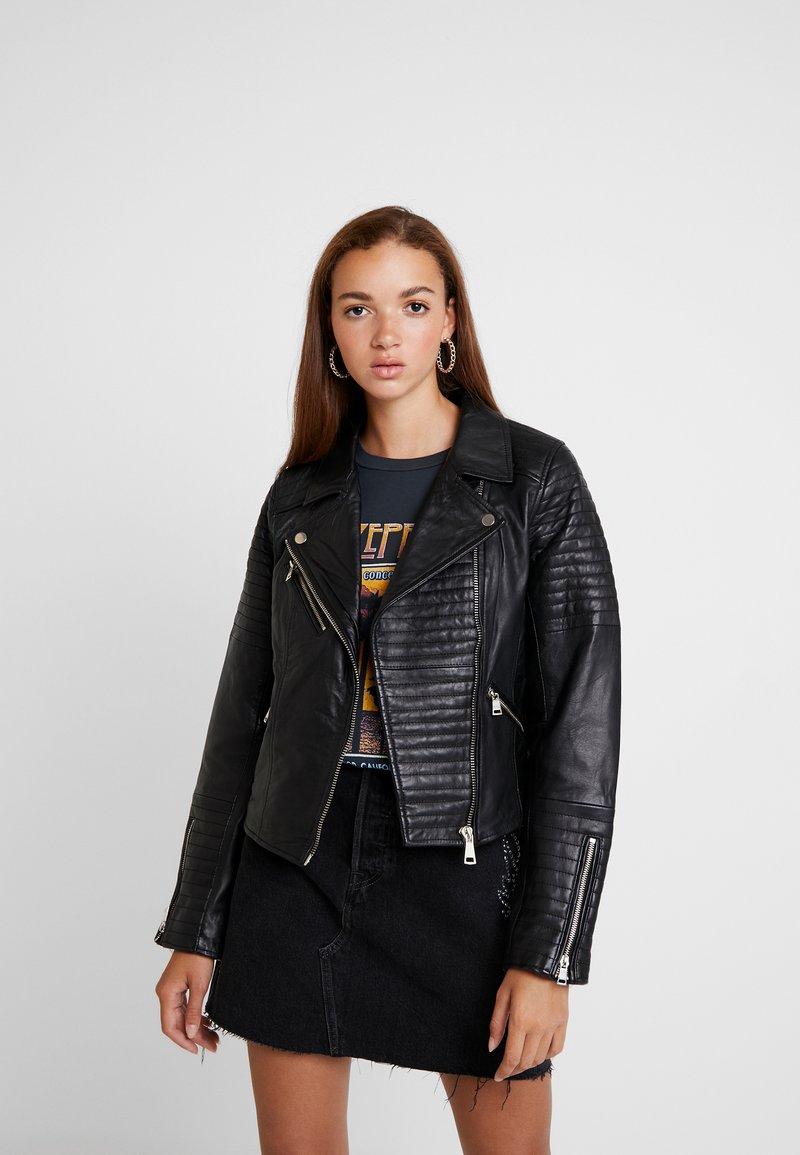 River Island - CATO JACKET - Leather jacket - black