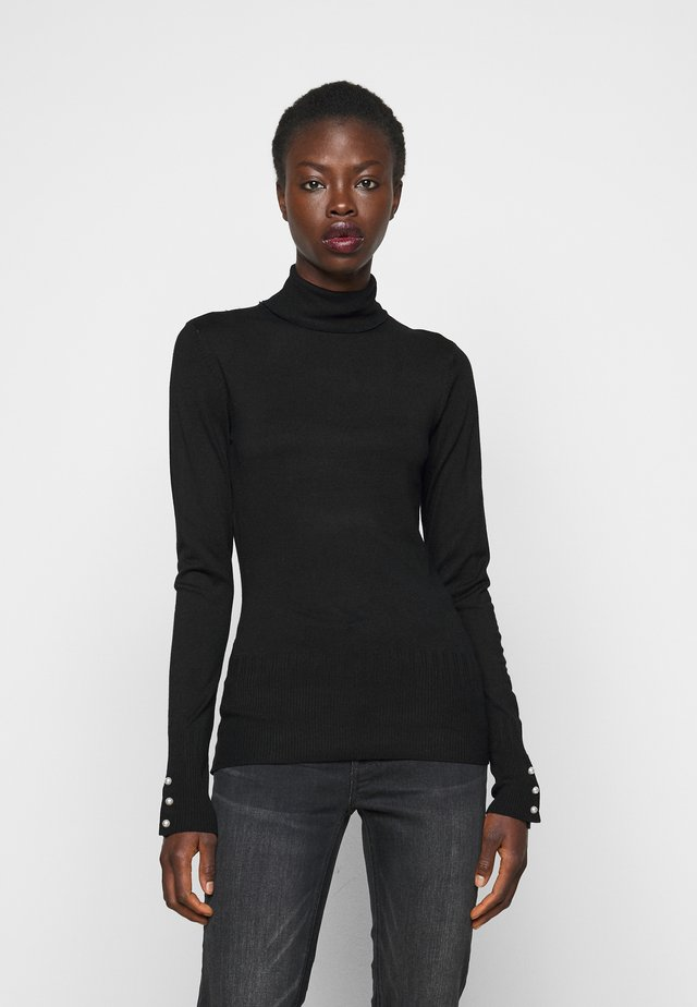 PEARL BUTTON CUFF ROLL NECK - Jumper - black