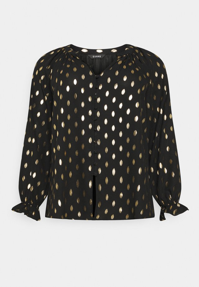 GOLD FOIL COVERED BUTTON - Blouse - black