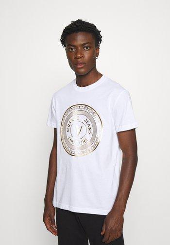T-shirt imprimé - bianco/gold